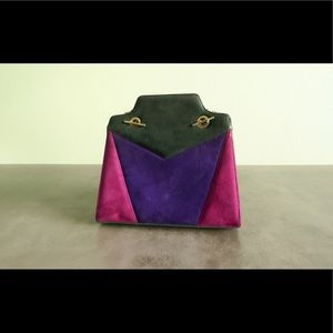 Handbags - Vintage Suede Tricolor Gold Chain Crossbody Purse